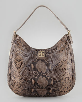 Tory Burch Catalina Python-Print Hobo Bag, Natural