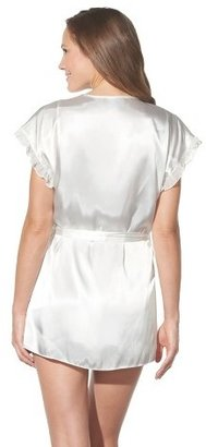 Gilligan & O'Malley Women's Bridal Satin Robe and Babydoll Set Ivory