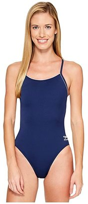 Speedo Solid r) Endurance + Thin Strap (Natical Navy) Women's Swimsuits One Piece