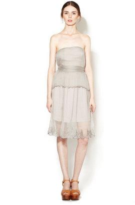 Vena Cava Strapless Textured Silk Dress