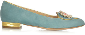 Charlotte Olympia Gemini Suede Slippers