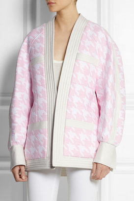 Balmain Leather-trimmed woven houndstooth jacket