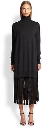 ADAM by Adam Lippes Pleated Satin & Lace Skirt