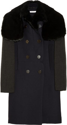 Carven Rabbit-trimmed double-breasted woven coat