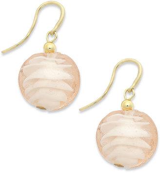 Alfani Earrings, Gold-Tone Pink Ribbon Glass Bead Drop Earrings