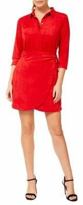 Dex Three-Quarter Sleeve Velvet Wrap Dress