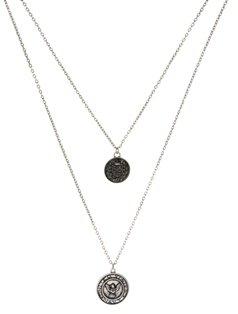 Asos Coin Pendant Necklace - Silver