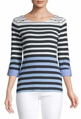 Tommy Hilfiger Striped Three-Quarter Sleeve Top