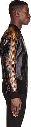 Alexander McQueen Black Leather & Python Bomber