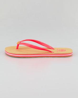 Tory Burch Neon Striped Rubber Flip Flop, Neon Pink