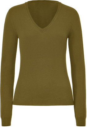 Malo Olive V-Neck Cashmere Sweater
