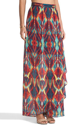 Alice + Olivia Miabella Wrap Slit Maxi Skirt