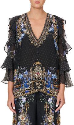 Camilla Abstract-Print Ruffle Cold-Shoulder Blouse