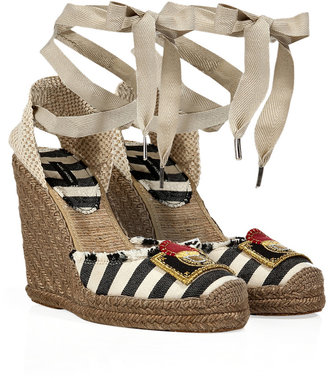 Marc Jacobs Black/Cream Striped Espadrille Wedges