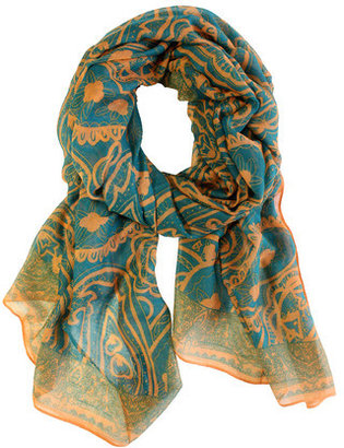 Happy Scarf Spring Paisley Teal Gold