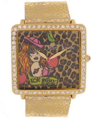 Betsey Johnson Watch, Women's Gold-Tone Leather Strap 33mm BJ00083-01