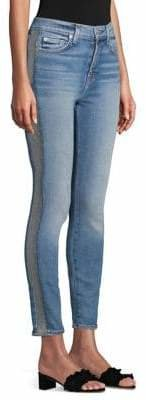 7 For All Mankind Luxe Vintage High Waist Ankle Skinny Jeans with Silver Lurex Side Stripe