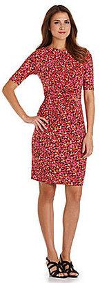 Chaus Abstract-Print Knot-Waist Dress