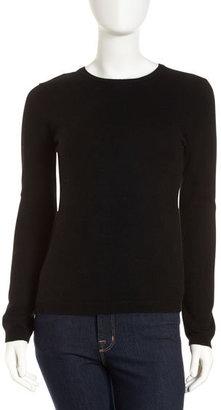 Neiman Marcus Long-Sleeve Cashmere Crewneck Sweater, Black