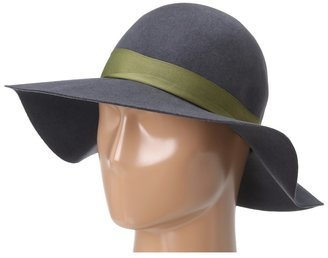 Hat Attack Wool Felt Round Crown Floppy (Charcoal with Loden Ribbon) - Hats