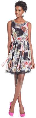 Betsey Johnson Dress, Sleeveless Floral-Print Chiffon A-Line
