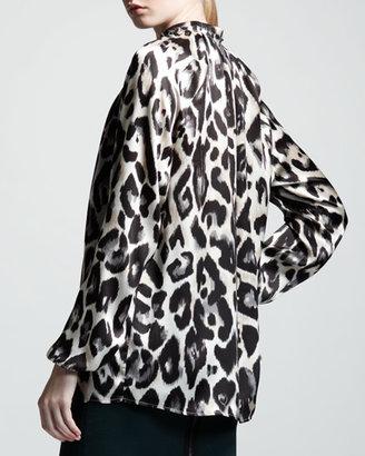 Lanvin Leopard-Print Satin Blouse