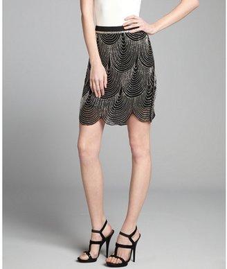 Joie black and silver silk chiffon beaded scallop trim 'Saphrina' skirt