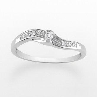 10k White Gold Round Cut Diamond Accent Ring
