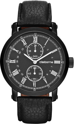 Claiborne Mens Black Leather Chronograph Watch