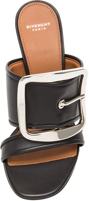 Givenchy Odia Leather Mules with Silver Buckle