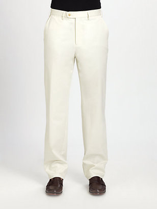 Saks Fifth Avenue Collection Flat-Front Cotton Modal Pants