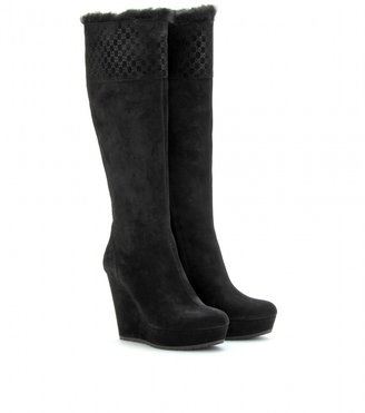 Gucci COUNTRY WEDGE SUEDE BOOTS
