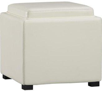 "Crate & Barrel Stow Blanco 17.5"" Leather Storage Ottoman"