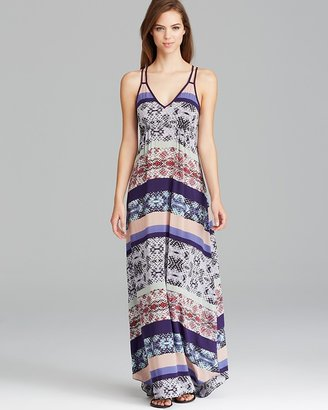 Aqua Maxi Dress - Malaysian Stripe Valley Ruched Bust