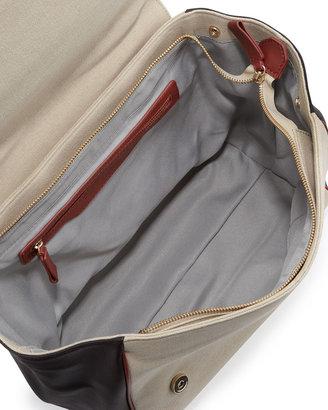 Gianfranco Ferre GF Colorblock Logo-Flap Satchel Bag, Brown Multi