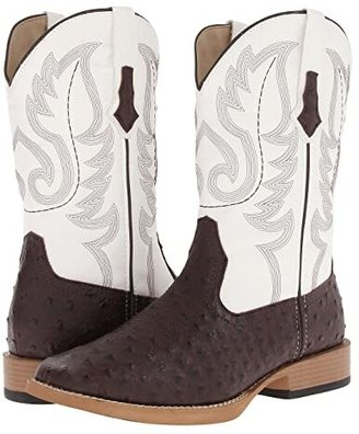 Roper Ostrich Print Square Toe Cowboy Boot (Brown Faux Leather/Western Stitch) Cowboy Boots
