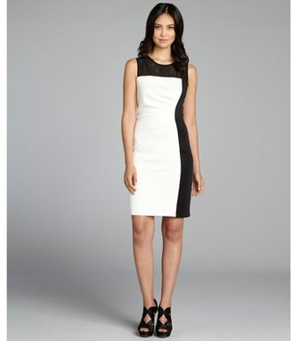 SD Collection ivory and black sheer mesh contrast stretch jersey knit dress