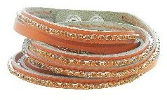 Presh Triple Orange Leather Wrap - Topaz Crystals
