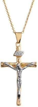 14k Gold Over Silver Plate & Silver Plate Crucifix Pendant