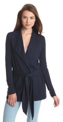 Three Dots Women's Long Sleeve Quilted Cardigan with Tie