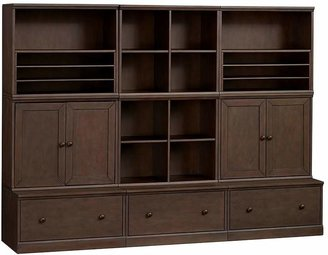 Pottery Barn Kids Cameron 2 Cubbies, 2 Cabinets, 2 Art Cubbies, & 3 Drawer Bases, Chocolate, UPS