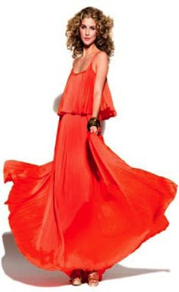 Halston Iconic Pleated Long Dress in Orange