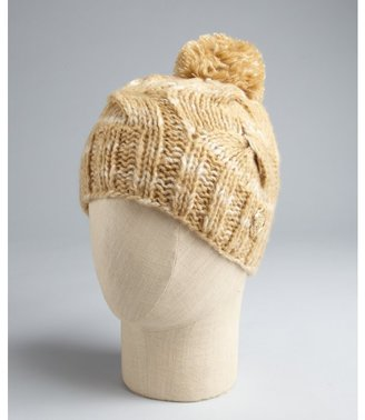 Vince Camuto twine wool blend twist cable knit pompom hat