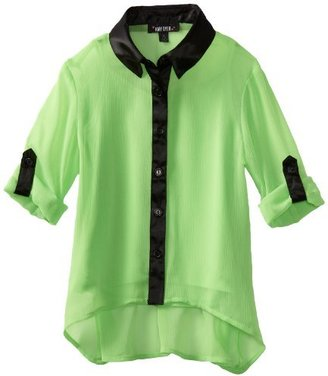 Amy Byer Girls 7-16 Hi Low Button Front Blouse