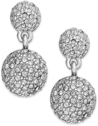 Charter Club Silver-Tone Micro Pave Crystal Drop Earrings
