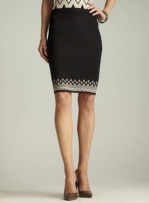 Carmen Marc Valvo Border Hem Knit Pencil Skirt