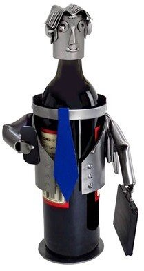 H & K SCULPTURES Male Executive 1 Bottle Tabletop Wine Rack H & K SCULPTURES