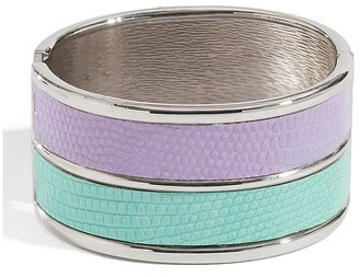 GUESS Purple and Mint Lizard-Embossed Wide Bangle