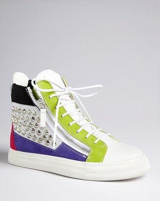 Giuseppe Zanotti Crystal Studded High Top Sneakers - London