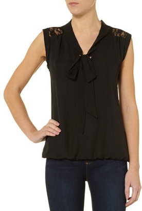 Dorothy Perkins Black lace insert pussybow shirt